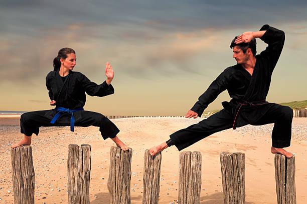 two martial arts fighters practicing combat sport - ninja fotografías e imágenes de stock