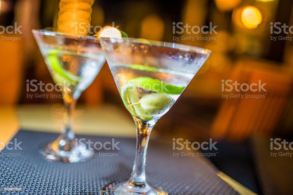 Two martinis stock photo