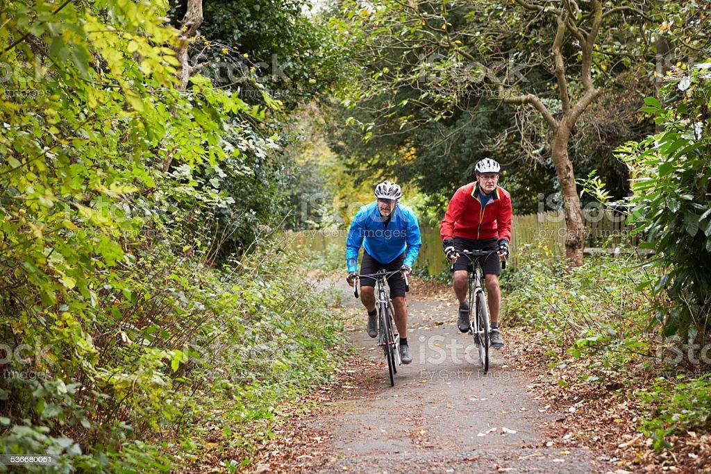 Two Mature Male Cyclists Riding Bikes Along Path stock photo