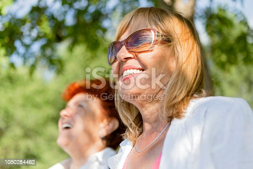 istock Two mature woman in park 1050284462