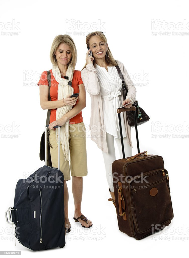 Two mature women travelling royalty-free stock photo