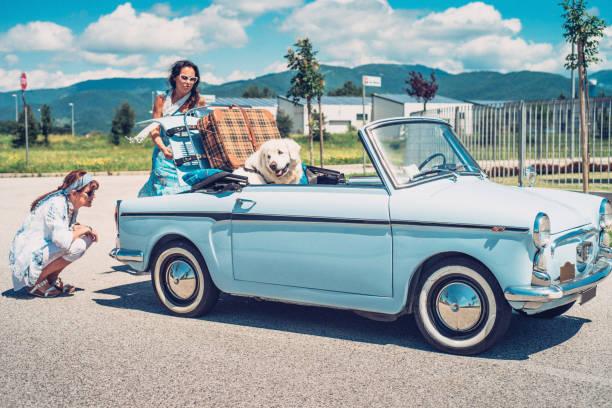 dos mujeres maduras con coche antigua averiada - perros abandonados fotografías e imágenes de stock
