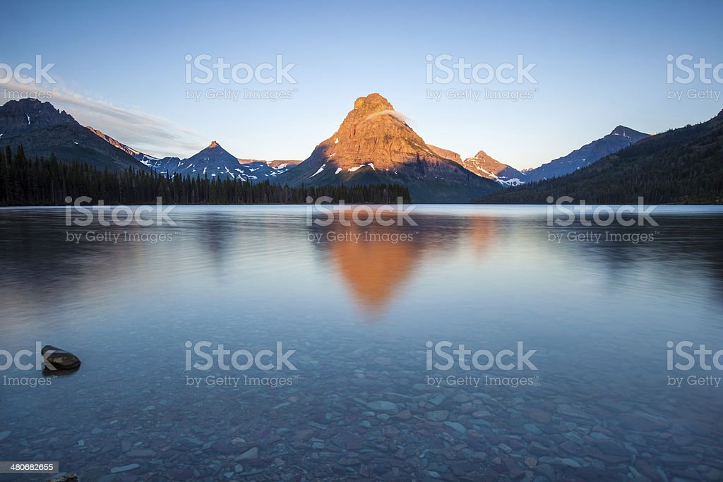 Two medicine lake, glacier national park, in the morning stock photo