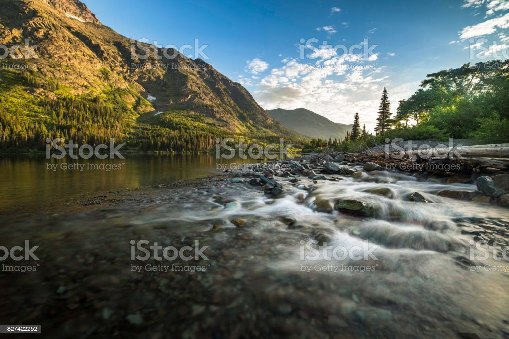 Two Medicine Lake Sunrise stock photo