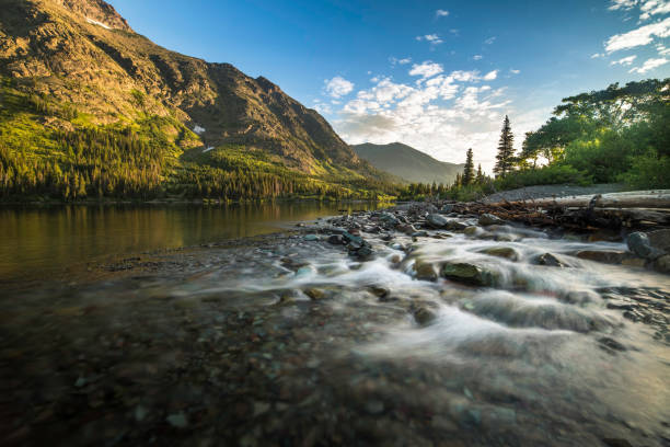 two medicine lake sunrise - montana western usa stock pictures, royalty-free photos & images