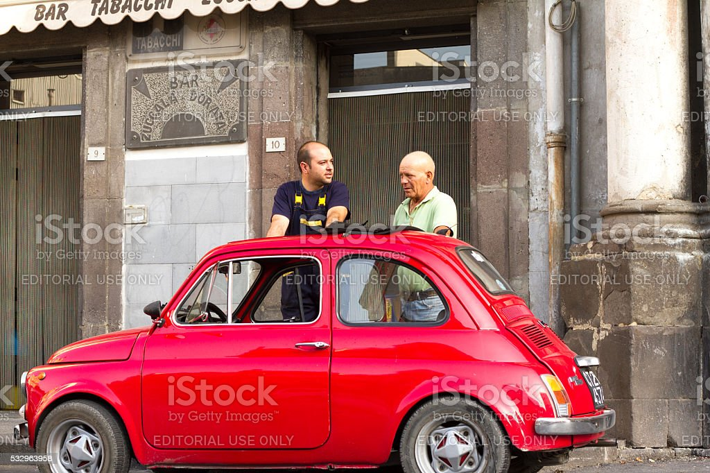 Two Men and a Vintage Red Fiat 500, Sicily