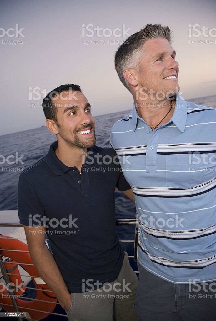 Two Men Boating on Vacation royalty-free stock photo