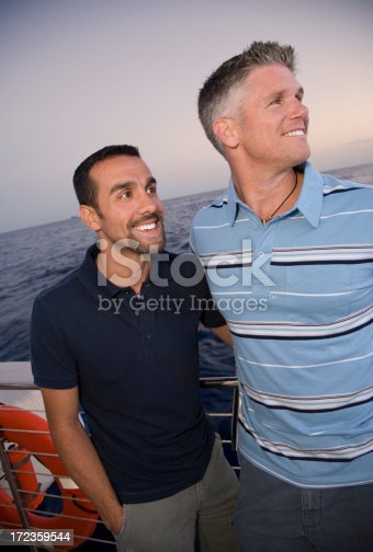 Two Men Boating On Vacation Stock Photo & More Pictures of 30-39 Years