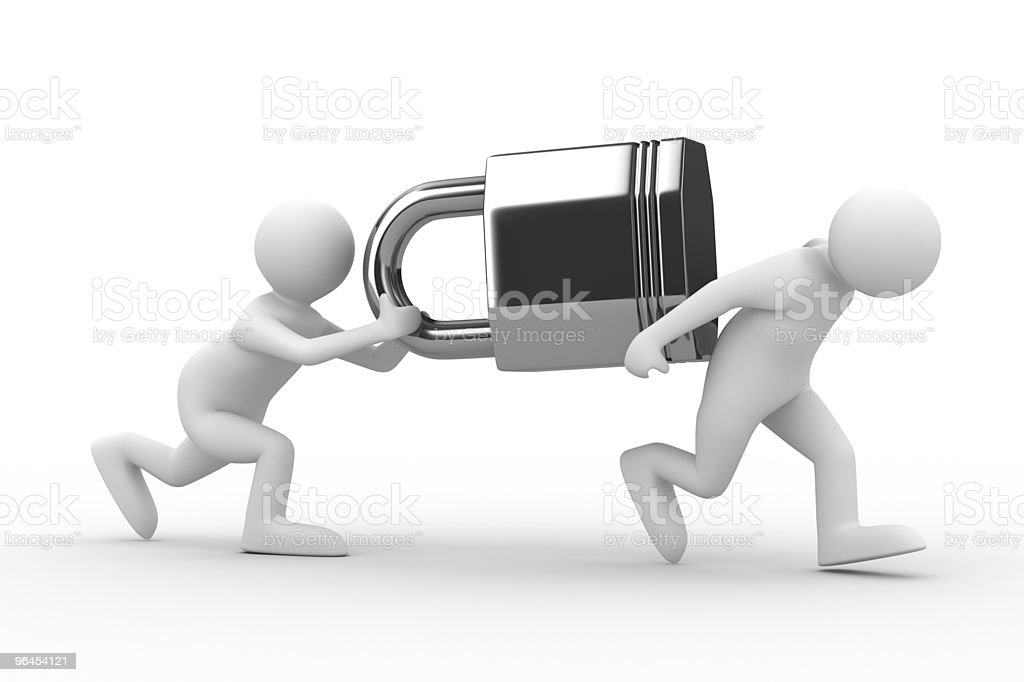 two men carry lock. Isolated 3D image royalty-free stock photo