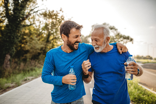 Two men exercising outdoors