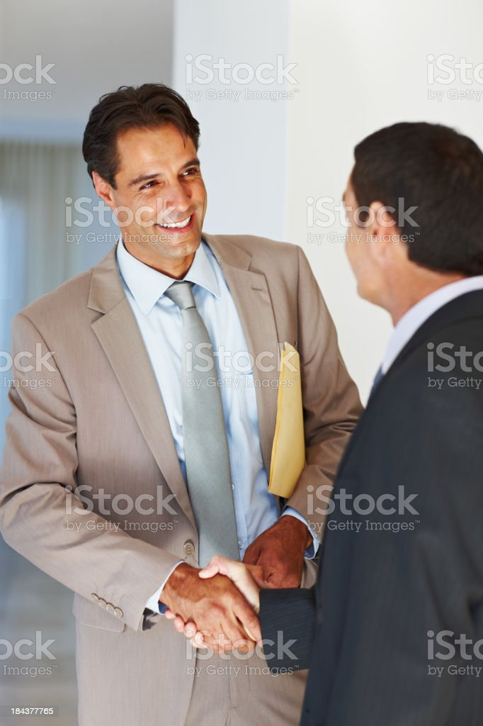 Two men in business suits shaking hands royalty-free stock photo
