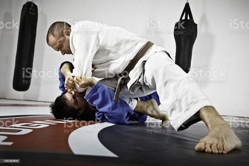 Two Men in Jiu-Jitsu Training royalty-free stock photo