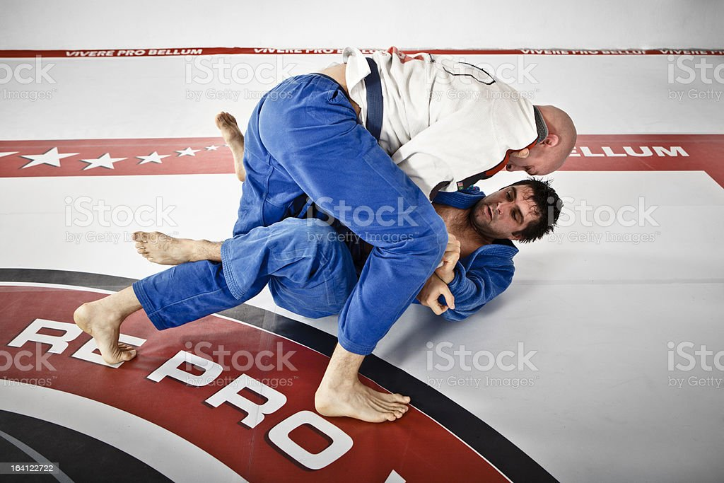 Two Men in Jiu-Jitsu training royalty-free stock photo