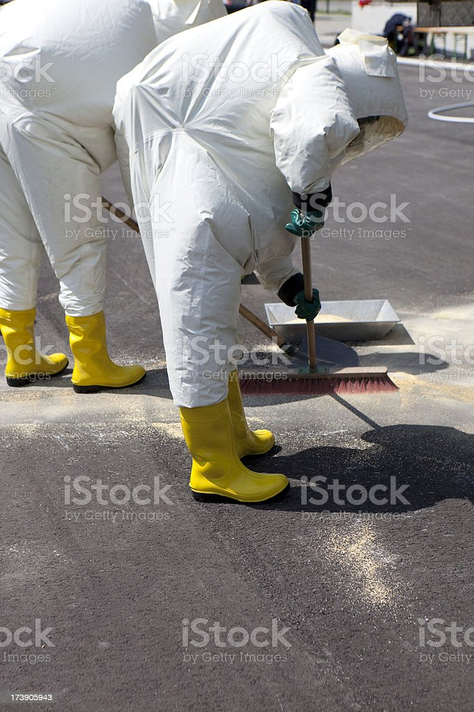 Two men in protective gear royalty-free stock photo