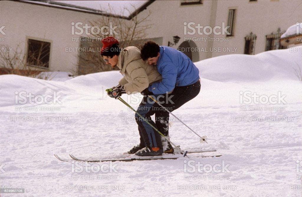 Two men on a ski stock photo