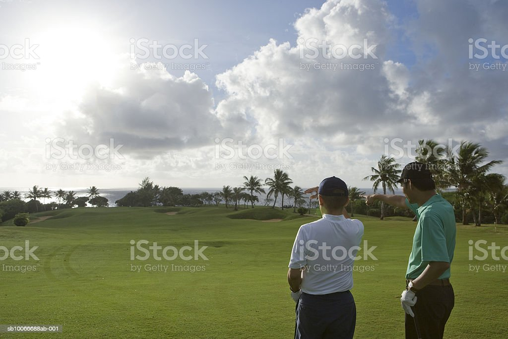 Two men on golf course looking at view and one pointing royalty free stockfoto