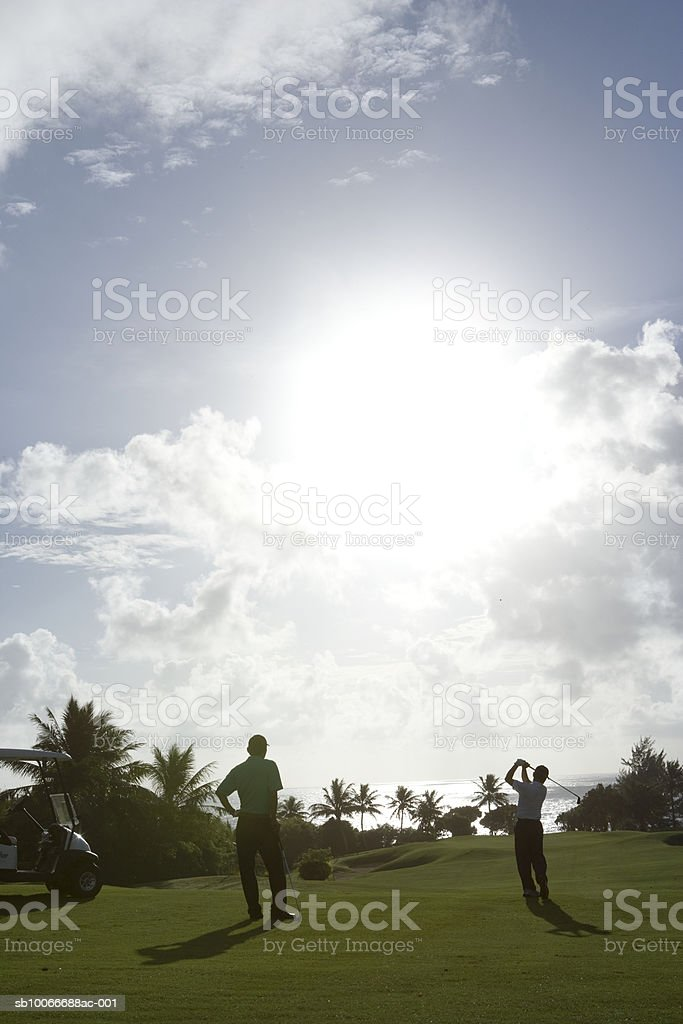 Two men playing golf, silhouette, rear view 免版稅 stock photo
