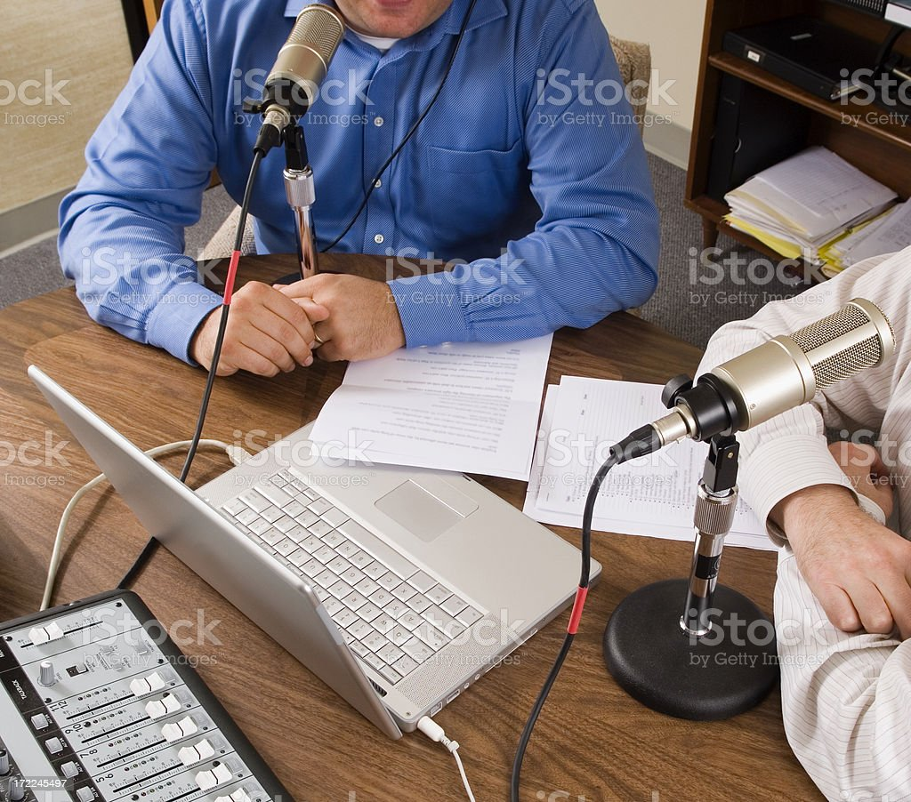 Two Men Podcasting stock photo