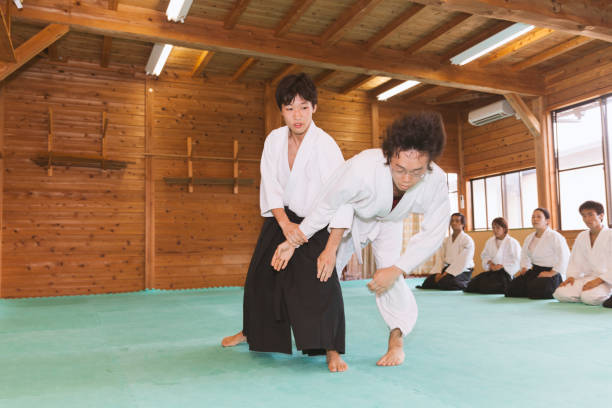 Two Men Practicing Aikido stock photo
