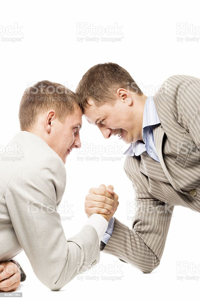 two men wrestling with arms royalty-free stock photo