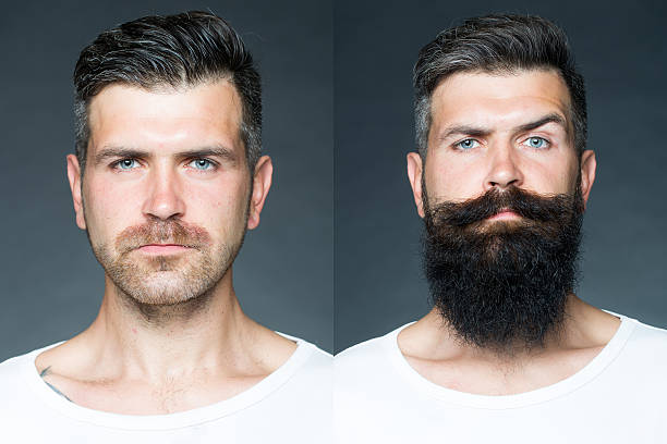 Two merged images of one man stock photo