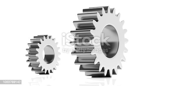Small and large silver gears isolated on white background. 3d illustration