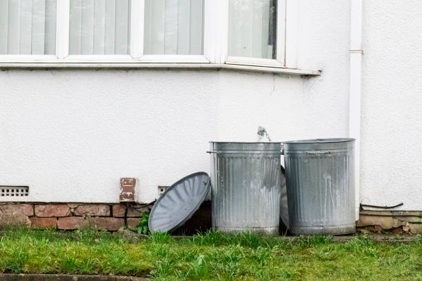 Two metal dustbins outside a house stock photo