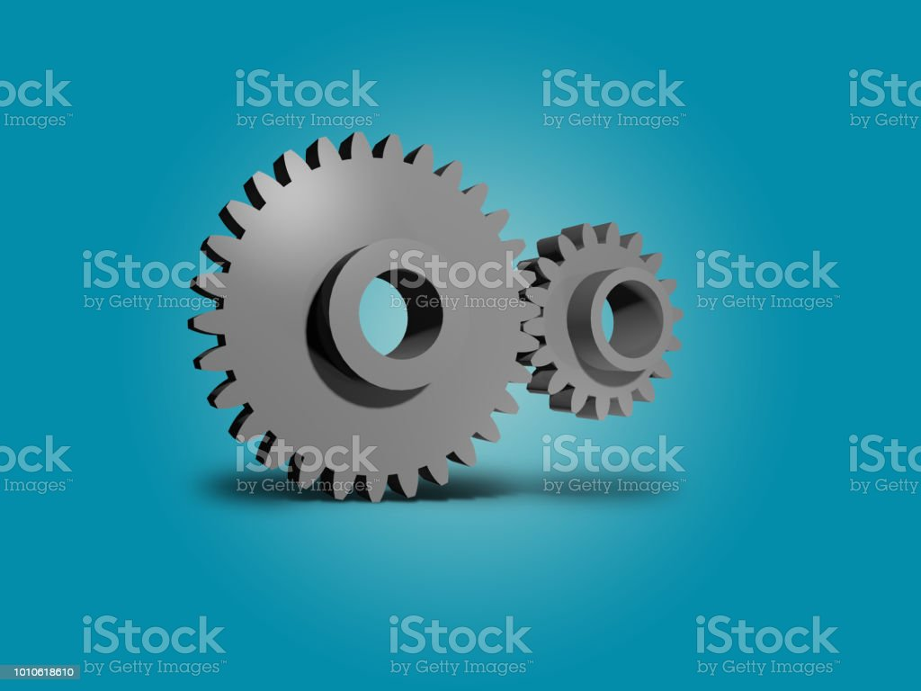 Two metal gears 3D illustration background stock photo