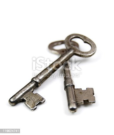 Two old fashioned skeleton keys on a white background. Unlock new doors.