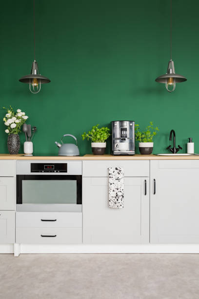 Two metal lamps above kitchen counter with herbs coffee maker and in picture id1146547114?b=1&k=6&m=1146547114&s=612x612&w=0&h=sxczavukr9elk0sy7okktvnrtm3lxcl6jqtpsr15bse=