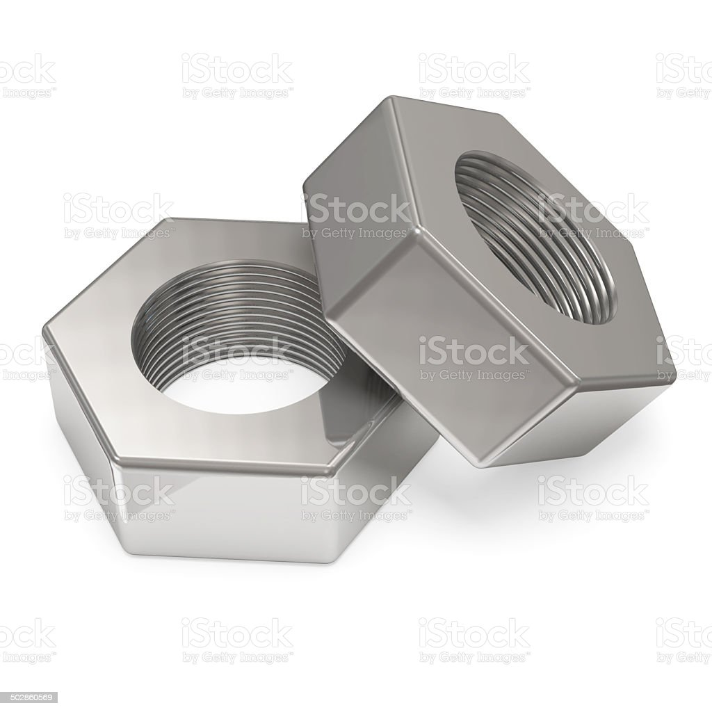 Two metal Nuts isolated on white background stock photo