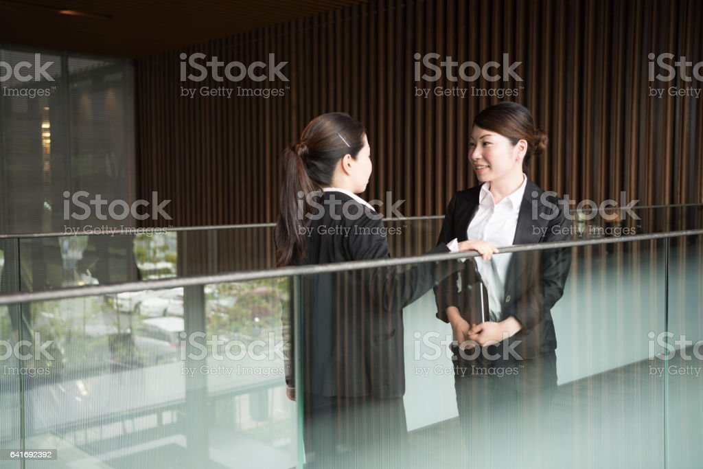 Two mid adult Japanese businesswomen discussing in modern office stock photo