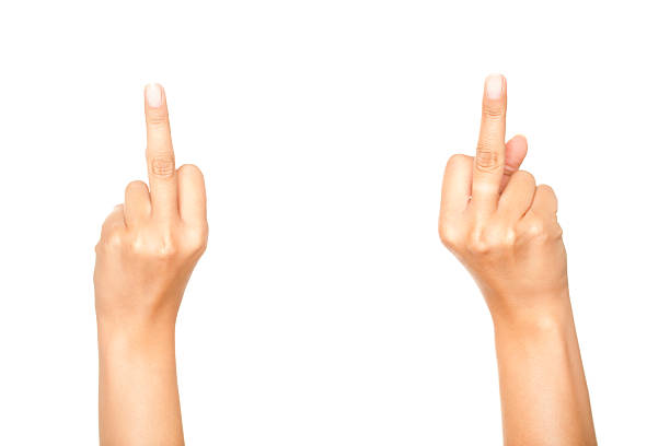 Two Middle Fingers On White stock photo