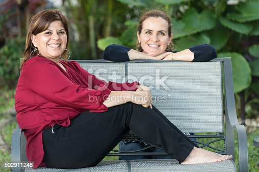 istock Two middle-aged women posing smiling 502911248