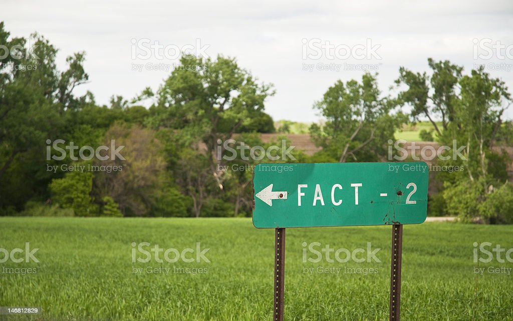 FACT - Two miles road sign royalty-free stock photo