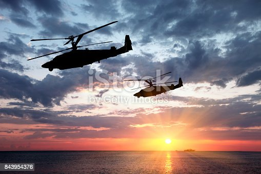Two military helicopter on a sunset background.