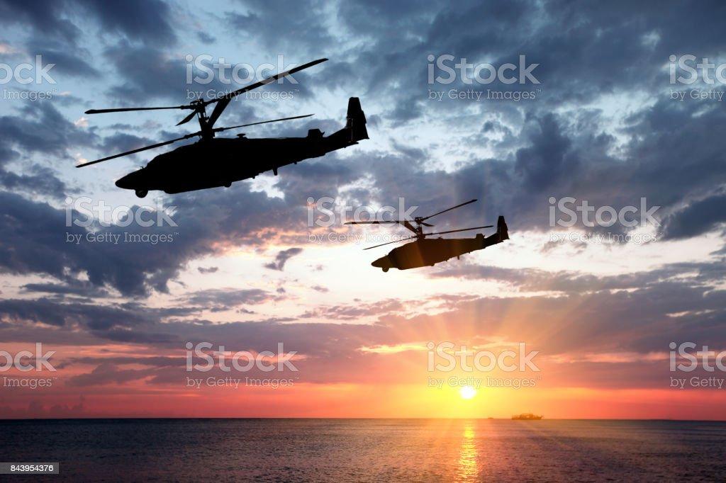Zwei militärische Hubschrauber – Foto