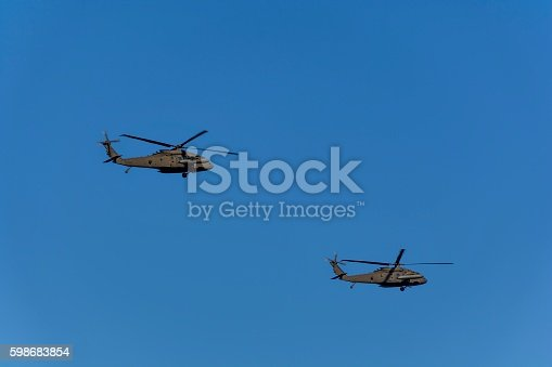 istock Two military helicopters flying against blue sky 598683854