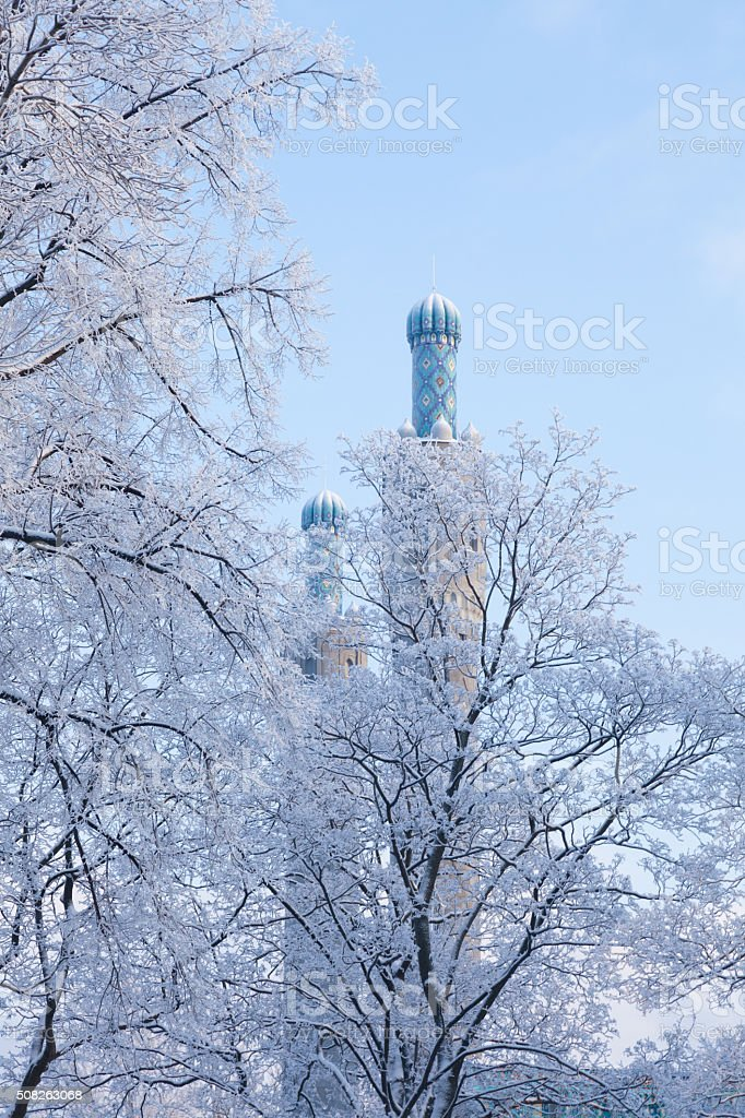 Two Minarets in St.-Petersburg, Russia stock photo