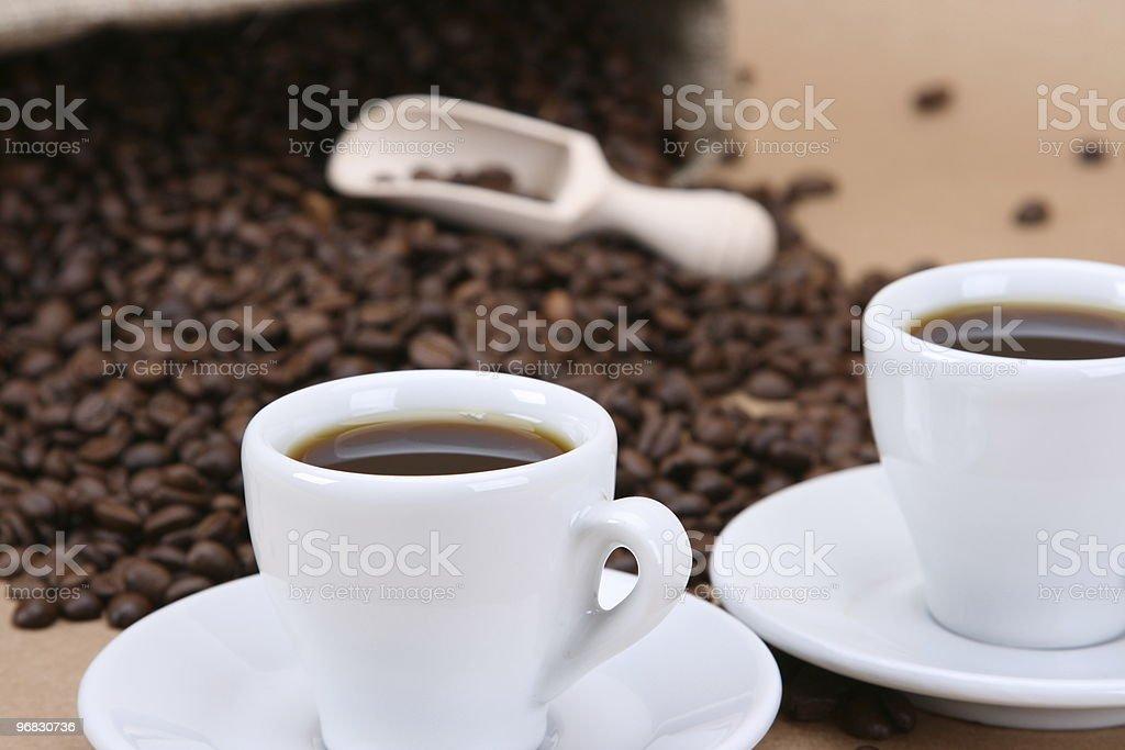 Two Mini Coffee Wide royalty-free stock photo