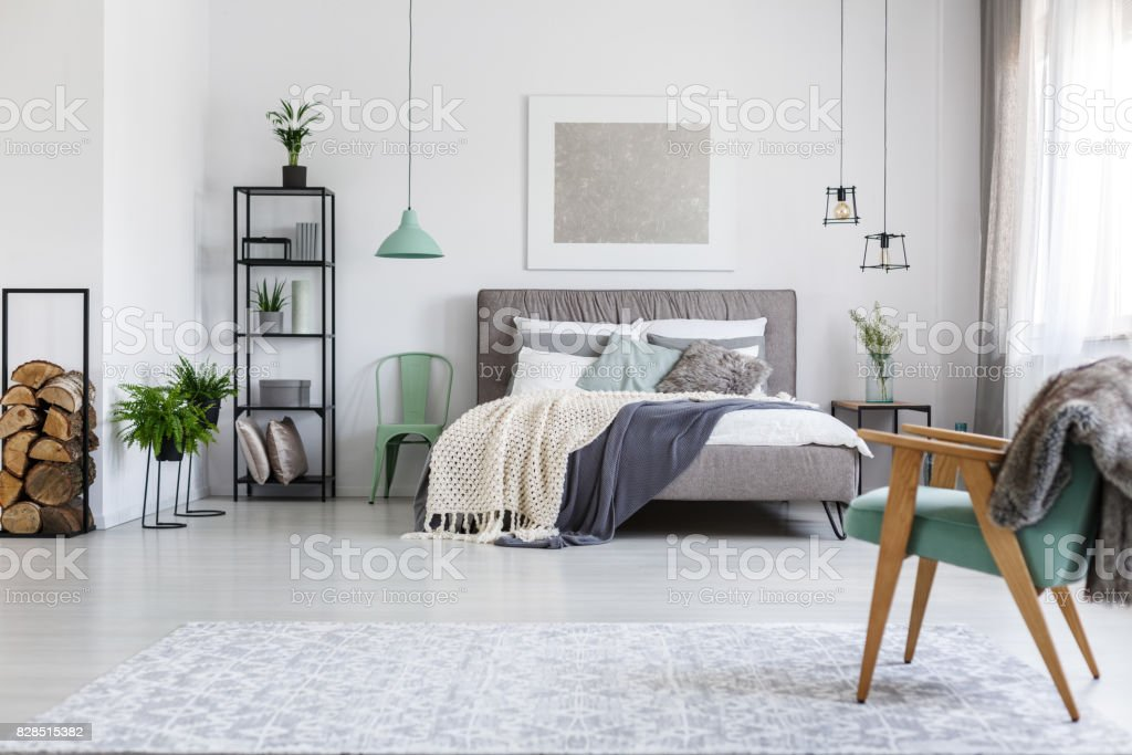 Two mint chairs in hotel room stock photo