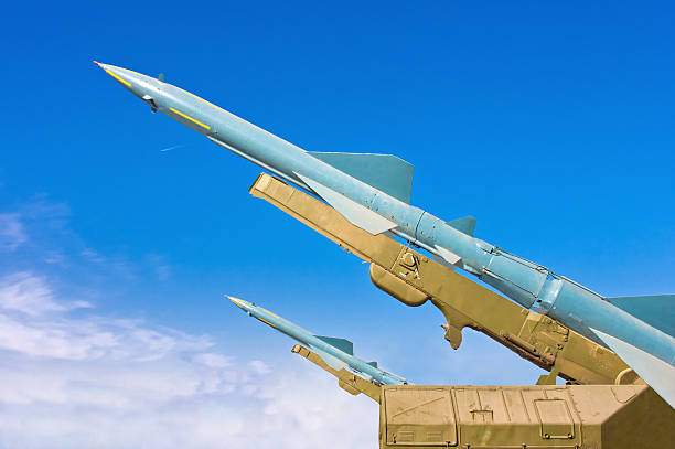 Two missiles aimed at the blue sky Two missiles aimed at the blue sky. Medium-range surface-to-air missile. antiaircraft stock pictures, royalty-free photos & images