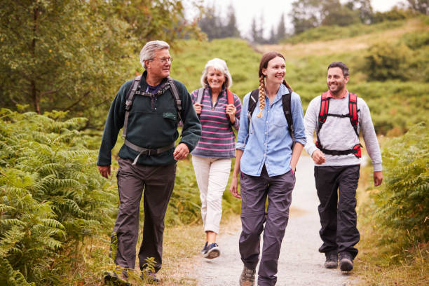 two mixed age couples walking on a countryside path during family camping adventure, front view - só adultos imagens e fotografias de stock