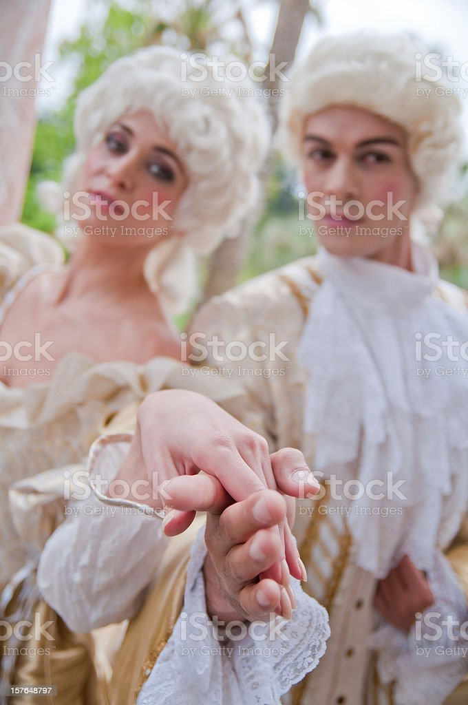 Two models in French Ancient Costumes royalty-free stock photo