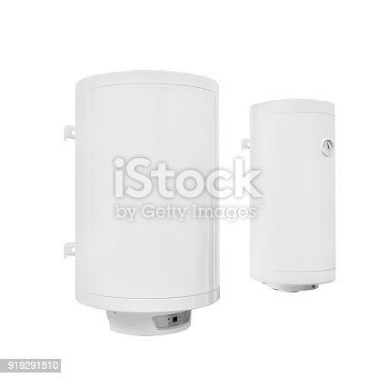istock Two modern  automatic electric water heater boiler isolated on a white background 919291510