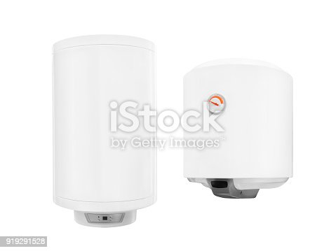 istock Two modern  automatic electric water heater boiler isolated on a white background 919291528