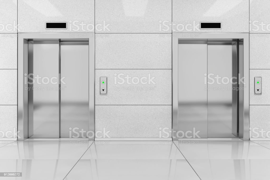 Dos moderno ascensor o elevador con puertas metálicas en edificio de oficinas. Render 3D - foto de stock