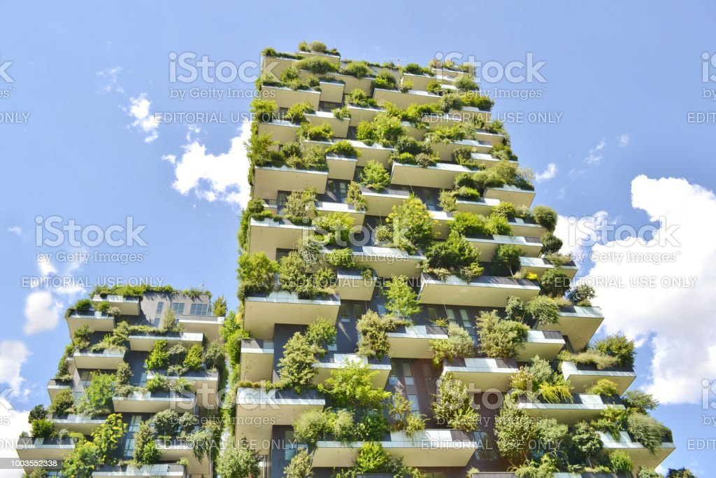 Two modern residences Vertical Forest - Bosco Verticale- in the centre of Milan. - foto stock