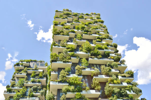 Two modern residences Vertical Forest - Bosco Verticale- in the centre of Milan. stock photo