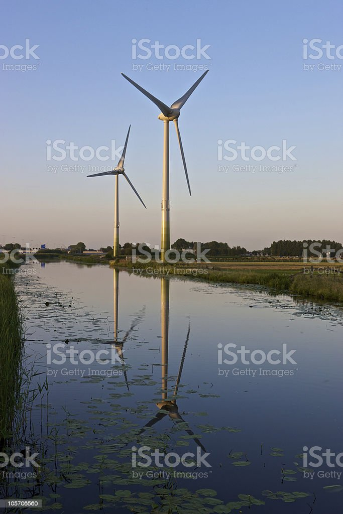 Two modern windturbines royalty-free stock photo